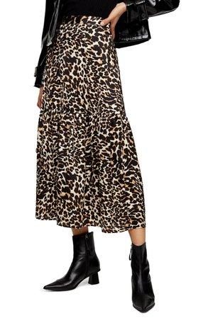 Topshop Leopard Print Tiered Midi Skirt   Nordstrom