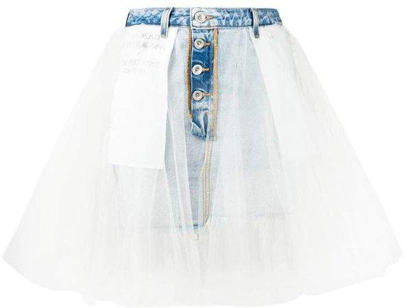 tulle layered denim skirt