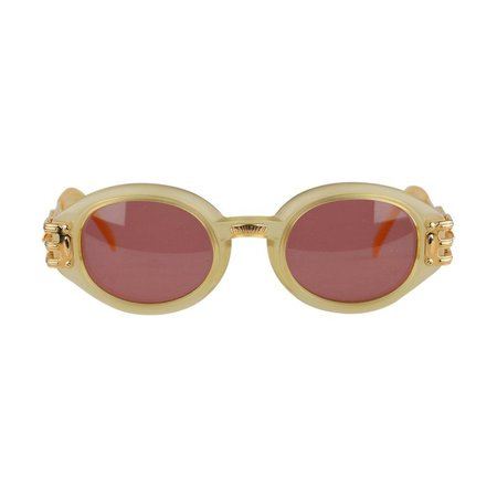 Jean Paul Gaultier Vintage Gold Oval Sunglasses 56-5203 New Old Stock
