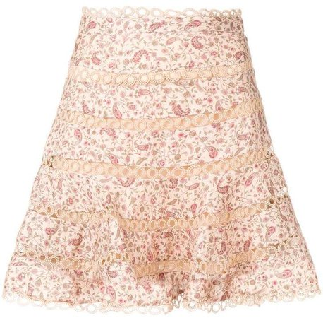 floral print eyelet flippy skirt
