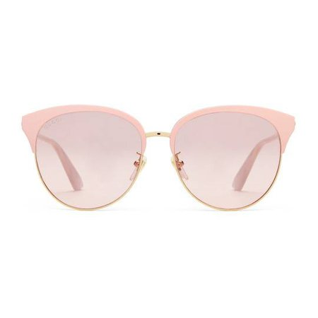 Specialized fit round-frame metal sunglasses in Gold metal frame with light pink brow bar, inspired by 1950s styling | Gucci Women's Cat Eye