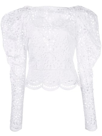 Carolina Herrera, Broderie Anglaise Blouse Top