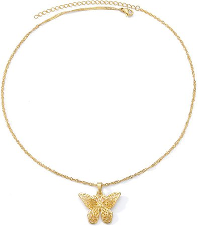 Amazon.com: Butterfly Pendant Necklace Women Choker 18k Gold Plated Chain Jewelry 16 Inch (Gold): Clothing