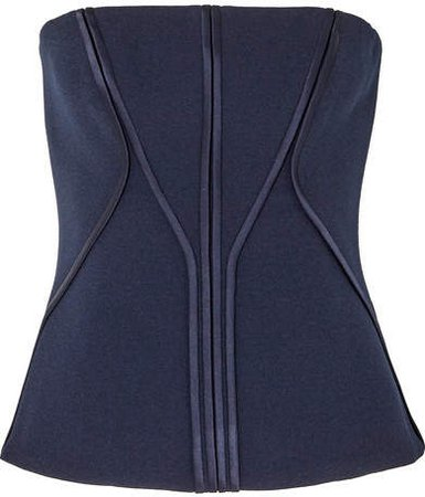 Satin-trimmed Stretch-crepe Bustier Top - Navy