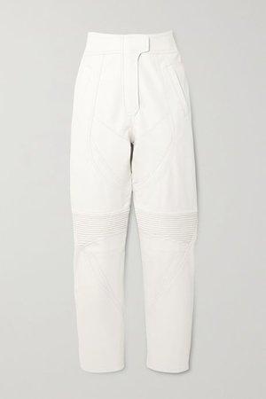 White Paneled vegetarian leather tapered pants   Stella McCartney   NET-A-PORTER