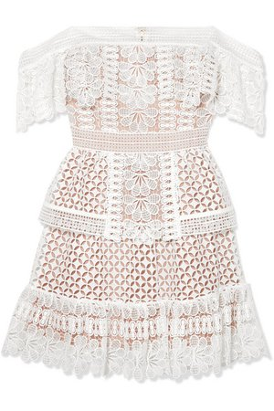Self-Portrait | Off-the-shoulder guipure lace mini dress | NET-A-PORTER.COM