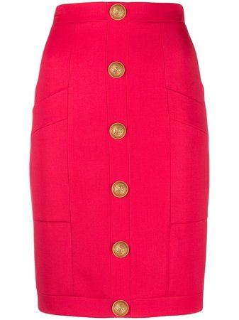 Balmain embossed buttons fitted skirt