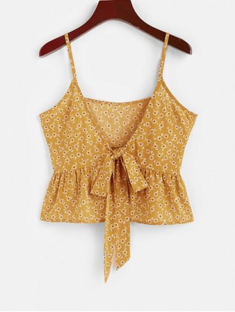 [43% OFF] [HOT] 2020 ZAFUL Ditsy Print Bowknot Peplum Camisole In YELLOW | ZAFUL