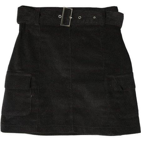 Black Demin Skirt With Belt