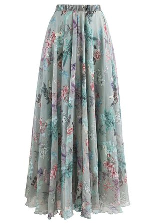 Exuberant Floral Chiffon Maxi Skirt in Green - Retro, Indie and Unique Fashion