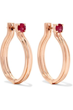 Melissa Kaye | Jen Maia 18-karat rose gold ruby earrings | NET-A-PORTER.COM