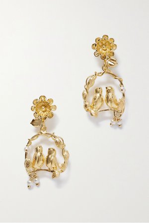 Gold Inseparable gold vermeil pearl earrings | Of Rare Origin | NET-A-PORTER