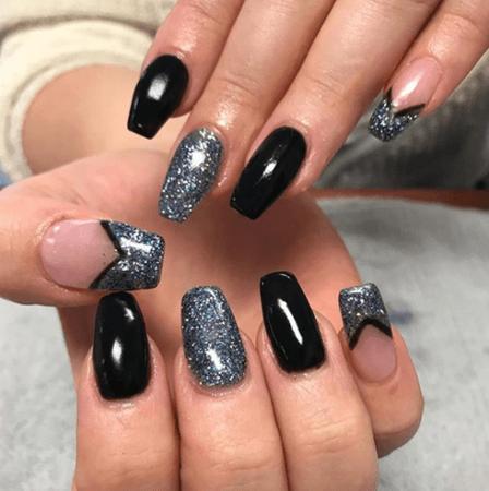 black sparkle nails - Google Search