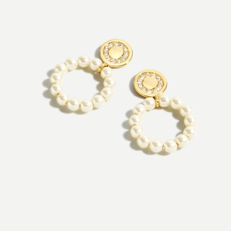 J.Crew: Pearl Hoop Coin Earrings For Women