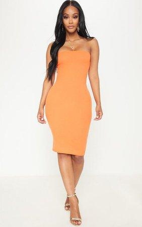 Shape Orange Ribbed Bandeau Midi Dress | PrettyLittleThing