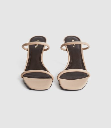 Magda Nude Leather Strappy Heeled Sandals – REISS