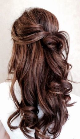 Half up half down brunette hair