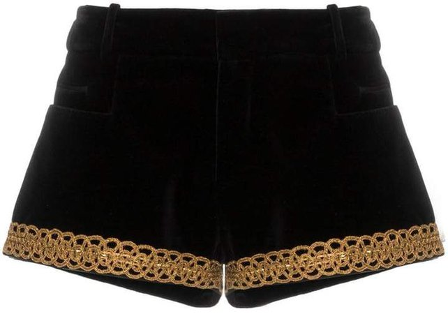 velvet brocade trim shorts
