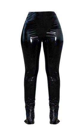 Black Vinyl High Waisted Leggings | Trousers | PrettyLittleThing