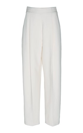 Oscar de la Renta High-Waist Wool Cropped Pants
