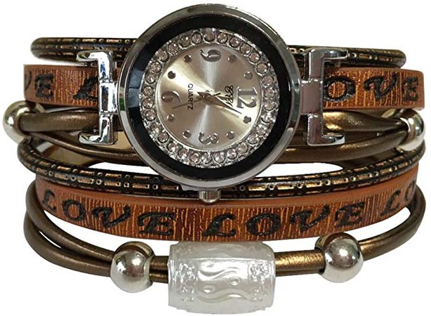 Amazon.com: MINILUJIA Double Wrap Around Engraved Leather Women Watch Vintage Casual Bohemian Style Adjustable Beads Watch 25mm Silver Artificial Crystal Dial (Brown): Clothing