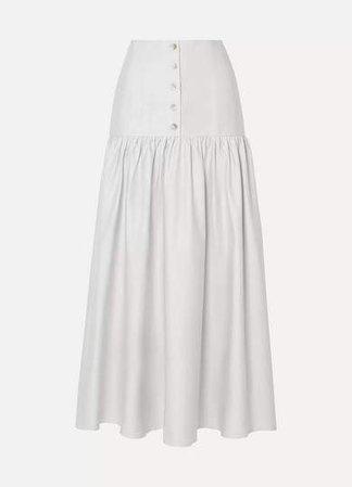 Arias ARIAS - Cotton-poplin Midi Skirt - Light gray