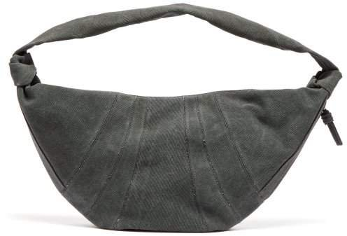 Maxi Croissant Cotton Canvas Cross Body Bag - Womens - Dark Grey