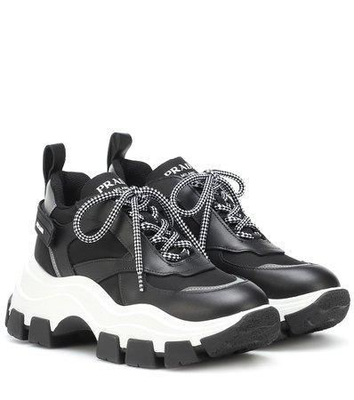 Leather-Trimmed Sneakers - Prada | Mytheresa