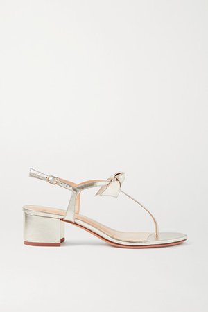 Clarita Bow-embellished Metallic Leather Sandals - Gold