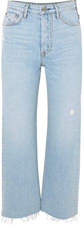 Bobbi Cropped Distressed High-rise Bootcut Jeans - Light denim