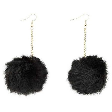 Black Fluffy Pom Pom Earrings
