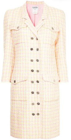 Pre-Owned checked double breasted coat