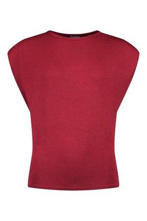 Shoulder Pad T-Shirt | boohoo