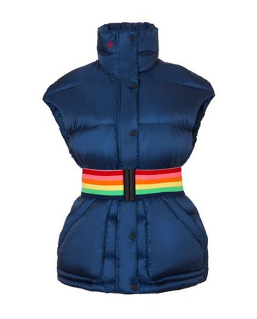 Womens Belted Over-Size Ski Vest Navy   Perfect Moment
