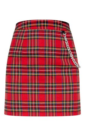 RED TARTAN CHECK CHAIN DETAIL MINI SKIRT.jpg (740×1180)