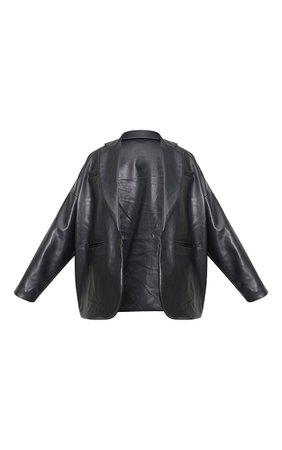 Black Faux Leather Drop Shoulder Oversized Dad Blazer | PrettyLittleThing USA