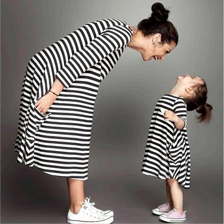 Mommy And Me Family Matching Mother Daughter Dresses Clothes Striped Mom Dress Kids Child Outfits Mum Big Sister Baby Girl Canada 2019 From Runbaby, CAD $17.62 | DHgate Canada