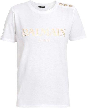 Button-Trim Logo Cotton T-Shirt