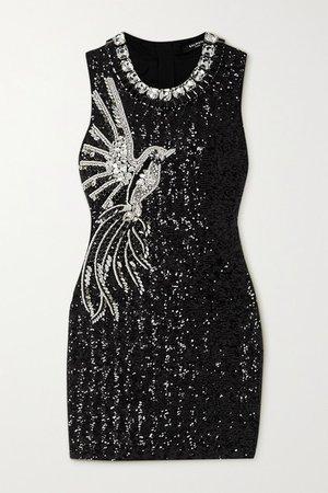 Crystal-embellished Stretch-crepe Mini Dress - Black