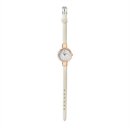 Rose Gold Plated Alloy White Leather Thin Womens Watch