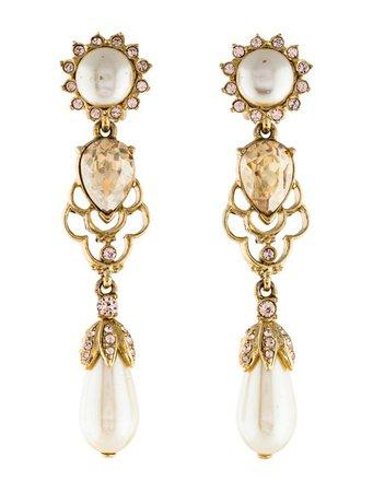 Oscar de la Renta Faux Pearl & Crystal Drop Clip-On Earrings - Earrings - OSC65627   The RealReal