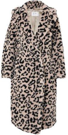 Oversized Leopard-print Faux Fur Coat - Beige
