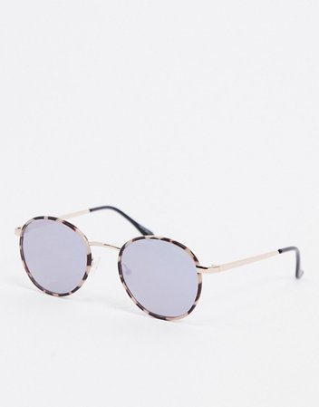 Quay Australia Omen round sunglasses in cream tort with blue lens | ASOS