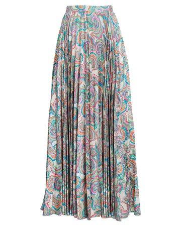 Saloni Kim Pleated Printed Midi Skirt   INTERMIX®