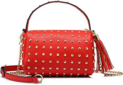 Shoulder Bag Small Side Purse Mini Clutch with Bling Rivets Red: Handbags: Amazon.com