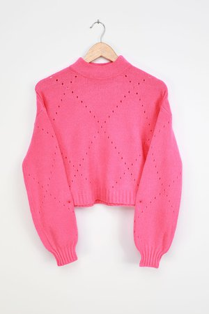 Hot Pink Sweater - Cropped Sweater - Pointelle Sweater - Lulus