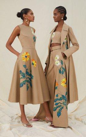 Hand-Painted Cotton Strapless Crop Top By Oscar De La Renta | Moda Operandi