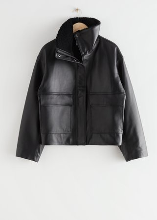 Boxy Cropped Leather Shearling Jacket - Black - Leather jackets - & Other Stories