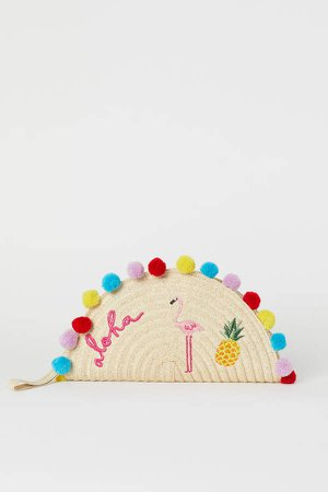 Paper Straw Clutch Bag - Pink