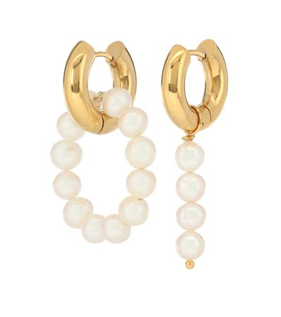 Mismatched 24Kt Gold-Plated Hoop Earrings With Pearls - Timeless Pearly | Mytheresa